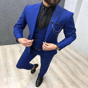 Lastest 3 Pieces Royal Blue Men Suits Peaked Lapel Custom Made Wedding Tuxedos Slim Fit Male Suits (Jacket + Pants + Vest)