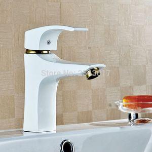 Gegrillte Weiß Gemalte Bassin-Hahn-Plattform angebrachtes Badezimmer HotCold Wassermischer ZR565