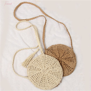 2020 Summer New Women Tassels Round Crossbody Shoulder Bag Beach Circular Rattan Wicker Straw Woven Basket Tote Bag Straw Bags