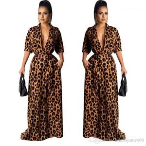V Neck manches mi-longues sexy Femme Vêtements de mode style décontracté Vêtements Femmes Leopard Desinger Maxi robes automne