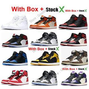 Black Satin 1 2020 UNC Per Chicago 1 di pallacanestro scarpe 1s con punta di sicurezza Bred scarpe da ginnastica Pine Green New Beginnings Mens