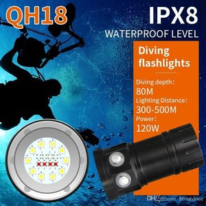 QH18 120W 28800LM Underwater 80M LED Diving Flashlight Torch Professional Diving Photo Photography Video Fill Light