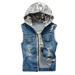 2019 Mens Denim Weste Männer Cowboy Sleeveless Hooded Removing Cap Herren Denim Weste Denim Herren blaue Weste