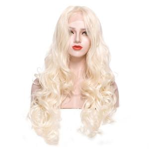 Средняя Часть Объемной Волны Золото Белый Цвет Синтетические Парики Фронта Шнурка Свободное Расставание Длинный Блондин Парик Естественная Волна женские Парики для Drag Queen
