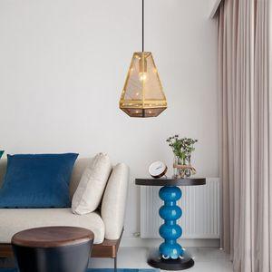 Nova pós-moderna Designer Restaurante candelabro iluminação da loja de roupa de aço inoxidável vidro oco abajur ouro cabeceira Hanglamp