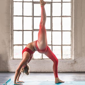 2020 Women's High Waist Yoga Pants Gradient Digital Print Yoga Sports Skinny Cropped Pants Slim Autumn Winter Leggings