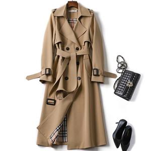 Dos hileras Cortavientos botón de la chaqueta de cuello de cobertura Ropa Mujeres s otoño invierno 2019 Retro Vintage abrigos trench elegante mujer de la correa