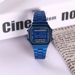 2019 Heiße Uhr Retro Digital Unisex Hohe Qualität Kalenderwoche Erhöhen handlicht Zeit Alarm 34 MM Edelstahlband Digitaluhr