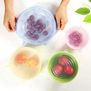 Silicone Stretch Suction Pot Lids 6pcs set Kitchen Cover Pan Bowl Stopper Lid Durable Fruits Vegetables Storage Lids OOA8064