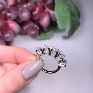 925 prata esterlina PAVE CONFIGURAÇÃO 5 Rodada simulada diamante CZ ETERNIDADE BAND noivado do casamento de pedra Anéis Tamanho 6,7,8