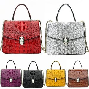 Fashion High Quality Genuine Leather Women Crocodile Shoulder Bag Dress Style Luxury Black Women Bag Brand Designer Red#739