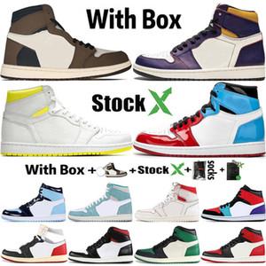 2020 с коробкой со X 1 1s Mens Basketball обувь Obsidian UNC Бесстрашный Travis Скоттс Turbo Зеленый спортивный тренер Дизайнер кроссовки Размер 36-47