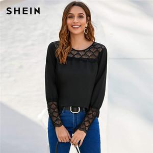 Shein Siyah Dantel Boyunduruk ve Manşet Katı Üst Kadınlar 2020 Bahar Bluz Uzun Kollu O-boyun Bayanlar Şık Bluzlar ve Üstler