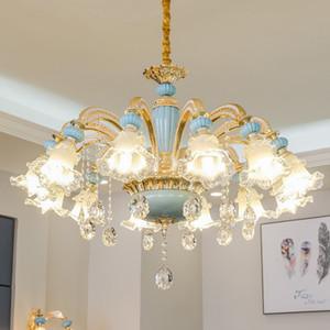 European Luxury Crystal Chandelier Lighting Living Room Bedroom Restaurant Crystal Lamp Hotel Club Lights Zinc Alloy Ceramic Pendant Lamps