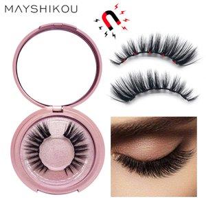 MAYSHIKOU 3D Magnetic False Eyelashes And Eyeliner Set Faux Mink Eyelash-Extension Cilp Handmade Natural Thick Style Tweezers