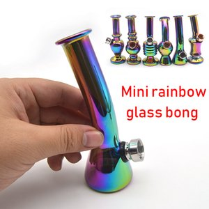 Mini Glass Bong Rainbow Color Recycler Dab Rig 4.9 inches High Glass Smoking Hand Pipes Water Pipes