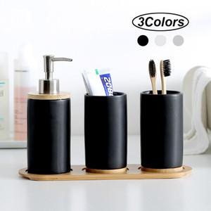 3PCS ceramica Bagno Holder Set accessori moda dispenser di sapone Spazzolino da denti Tumbler ceramica per usi domestici Bagno del prodotto con il vassoio