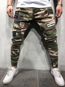 Pantalones para hombre de la moda fresca verde caqui pantalones de camuflaje para hombre flaco largo tramo pantalones vaqueros para hombre de parches de lápiz