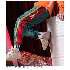 Privathinker Hommes Printemps Hip Hop Sarouel Streetwear 2019 Hommes Contraste d'impression couleur Pantalon Homme Side Stripe Fashion Joggers CJ191128