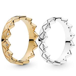 2019 nova chegada mulheres homens 18k amarelo anel ouro conjunto caixa original para pandora 925 esterlina prata exótica coroa amantes casal anel
