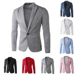 Casual Mens Suit Hooded One Button Men Red Blazer Outdoors Slim Fit Jacket Man Long Sleeve 8 Candy Color Suits Plus Size