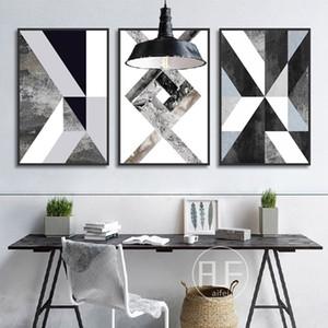 Abstrait Géométrique Toile Peinture Noir et Blanc Nordique Affiches et impressions Wall Art Photo pour Salon Décor No Frame