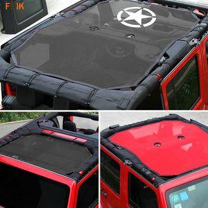 Esterno Top SunShade Cover Star Roof Mesh Protezione solare UV Net Eclipse per Jeep Wrangler JK 2007-2017 4Door 2Door