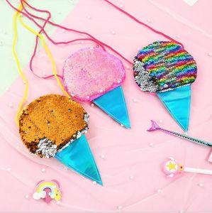 Ice Cream Mermaid Lentejuelas Monedero con Lanyard Mermaid Coin Pouch Bag Portátil Glittler Wallet Party Favor Bolsa Regalo de San Valentín