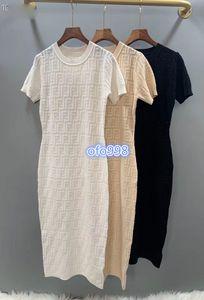 2020 high end женщины девушки жаккардовые трикотажные рубашки платье на всем протяжении письмо круглый вырез короткий рукав стрейч миди узкая юбка мода дизайн платья