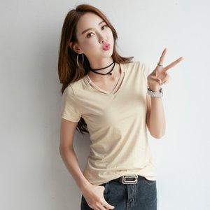 Shintimes Camiseta Mujer Verano 2019 Camiseta Mujer Tops Algodón Estilo Coreano Mujer Camiseta básica Mujer Ropa Camiseta Femme