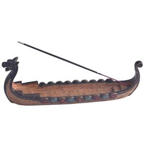 Bruciatori di incenso retrò Design tradizionale cinese Dragon Boat Incense Stick Bruciatore di supporto Intagliato a mano Carving Censer Ornaments