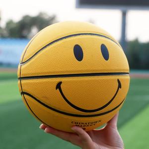New Chinatown marché Smiley jaune de basket-ball de guérison souriant PU basket intérieur de jeu extérieur en cuir balle taille7