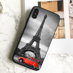 Fundas Luxury Car Eiffel Tower Phone Case for iPhone 11 Pro Xs Max Xr 8 7 6s Plus 5 SE Case Soft Black TPU Silicone Cover.
