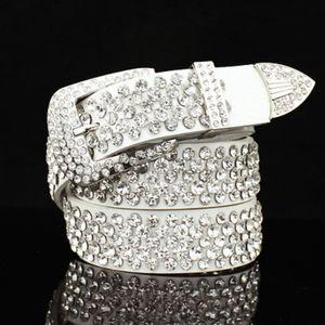 Tam elmas köpüklü kadın kadın moda lüks tasarımcısı Timsah hakiki deri kemer 110cm 3.6 ft pimi tokasını zirkon