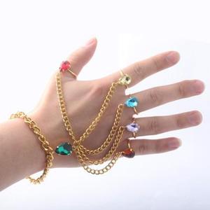 Joyería pulseras del encanto infinito de piedras preciosas anillo de cosplay apoyos de la película Infinity War Thanos guantelete brazalete del Rhinestone
