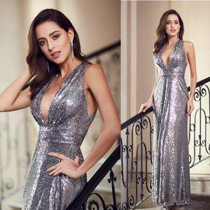 Criss espumoso lentejuelas largo vestidos de baile Sexy espalda cruzada dama de honor vestido de cuello en V profundo barato vestidos de noche
