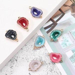 Fashion Designer Resina pietra cava Druzy Charms colorato geometrica pietra 18k fabbricazione dei monili d'oro Pated per Accessori Collana Bracciale