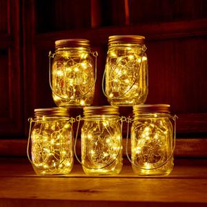 Solar LED Mason Jars Light Up Lid 20leds Cordas Fada Luzes da estrela parafuso em tampas para Mason frascos de vidro de Natal Jardim Lights