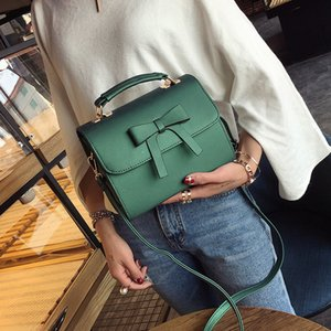 2020 new Korean version of the shoulder bag women's casual fashion solid color bow handbag lady