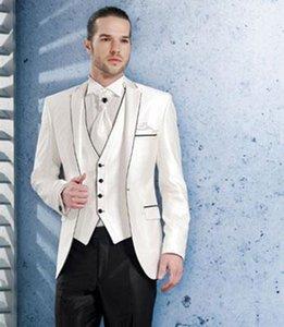 New Arrivals One Button Ivory Groom Tuxedos Notch Lapel Groomsmen Best Man Wedding Prom Dinner Suits (Jacket+Pants+Vest+Tie) 1478