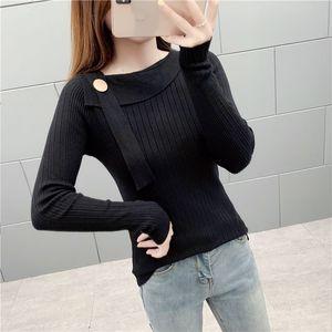 Lucyever 2019 Autumn New Strickpullover Frauen Langarm-Elastizität Schlanke schwarzen Pullover Frau Alltag Einfach Pullover weiblich