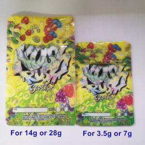 3,5 g 7 g de Rush Kush exóticas bolsas de cierre de cremallera con cierre a prueba de niños para la frescura de flores bolsas de embalaje 14g 28g mylar KUSH RUSH bolsas de mylar