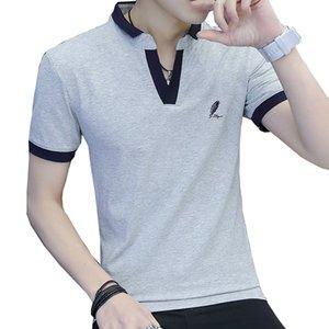 BROWON Brand Mens Tshirts Summer Short Sleeve Turn-down Collar Social Business T-shirt Men Solid Color Men Tops Size M-3XL
