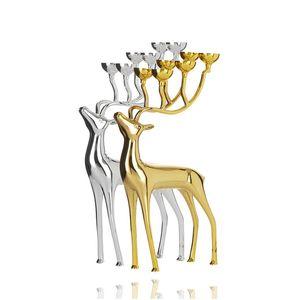 Sliver Gold Elk Candleholder Deer Tea Light Holder Matching Ball Candle Wedding Gift Home Decor Chirstmas Decoration DEC220