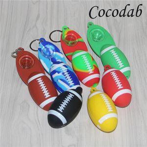 Fußball Silikon Handpfeife Farbige Glaspfeife Tabakpfeife tupfen Rig Ölbrenner Rauchzubehör Handpfeifen mit Glasschüssel