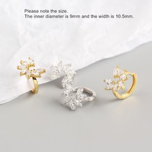 2020 925 sterling silver earring fashion zircon Petal wreath flower ear ring ear bone Wild trend sweet pretty women girl jewelry