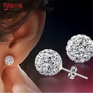 8 MM 10 MM Shamballa plateado brillante con aretes de cristal esféricos para la moda femenina de las mujeres