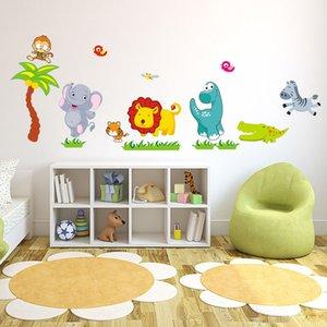 Cute Dinosaur Zebra Giraffe Cartoon Jungle Animals Creative Wall Sticker For Kids Room Bedroom Decor Supplies DIY Wall Art Decal