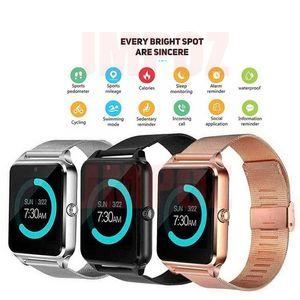 Z60 Smartwatches Bluetooth relógio inteligente inoxidável inteligente Pulseira com câmera cartão SIM para Android IOS celulares com Retail Box