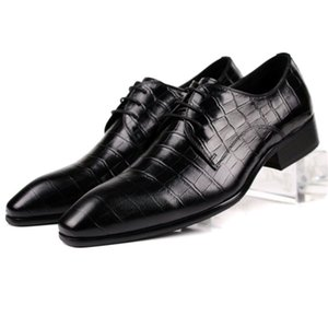 Scarpe in pelle Pelle bovina Lace-up della punta aguzza Low Top bovina scarpe di cuoio degli uomini di affari Abiti formali hun Yan Xie Chaussure Homme